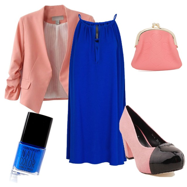 Color blocking outfit for petites
